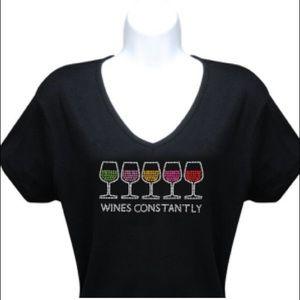 Wines Constantly Rhinestone Women's T-Shirt Top Sm